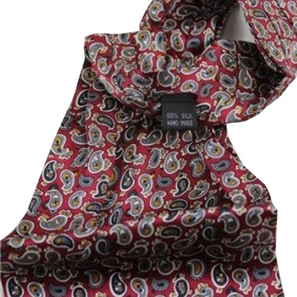 Foulard Cravate rouge à motifs cachemire - Fou de Foulard bab6a652751