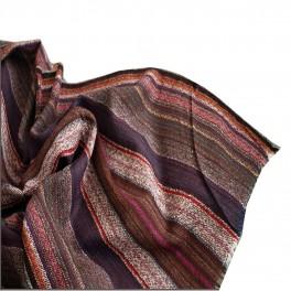 Foulard écharpe lin rouge à rayures