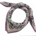 Foulard carré 100% soie, fleurs sur fond rose